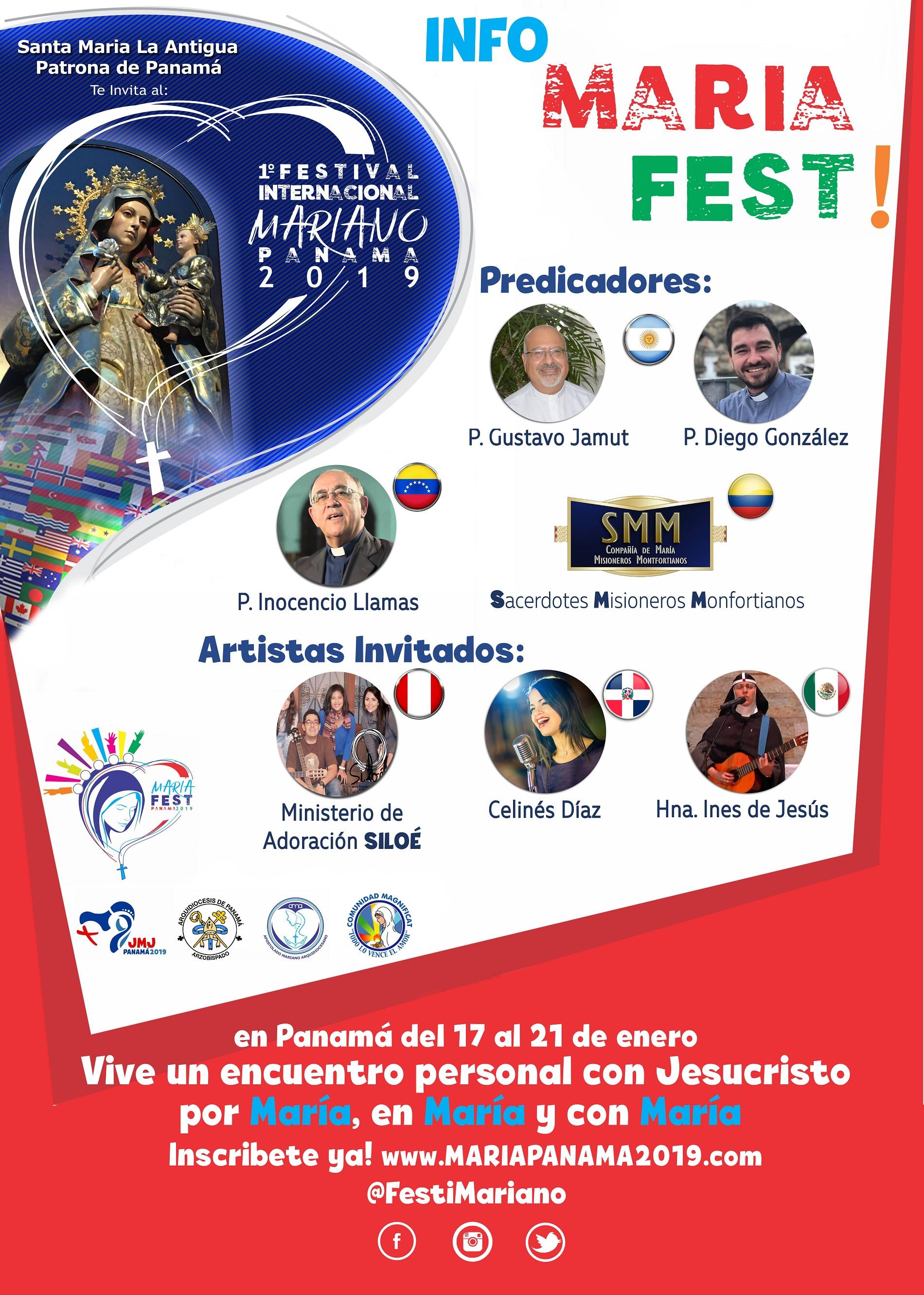 Ponentes Festival Mariano de la Juventud Panama 2019