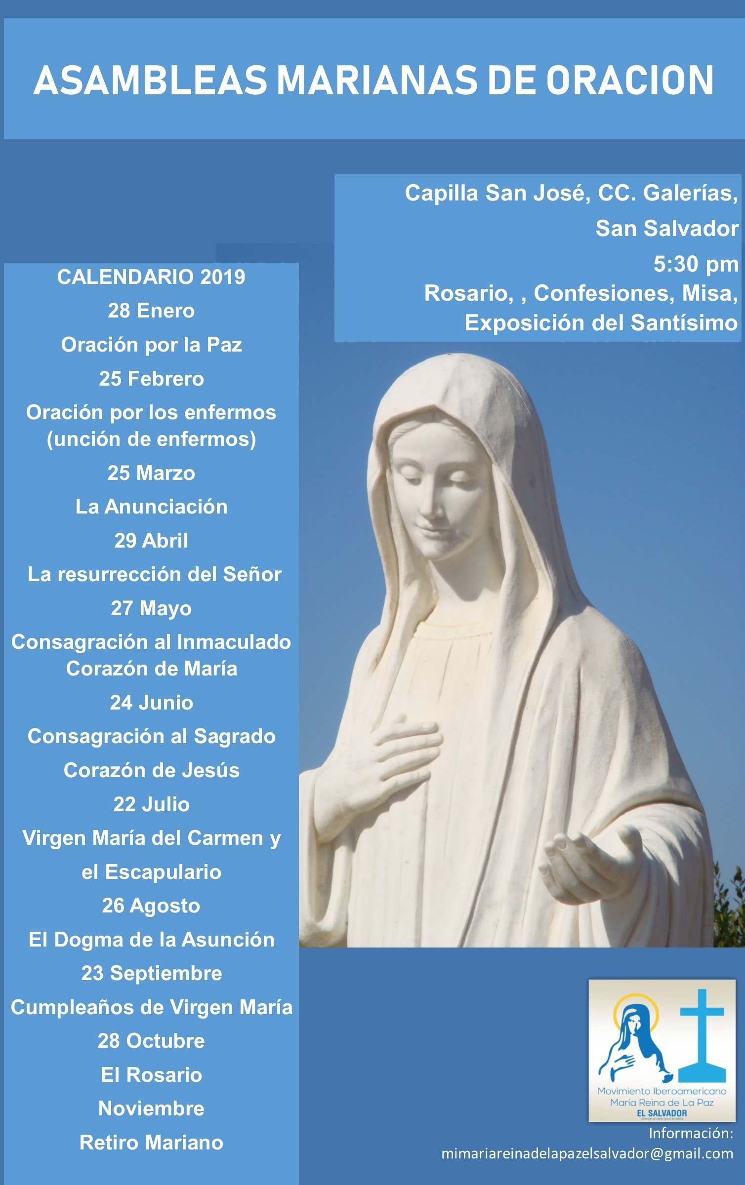 Calendario Mariano.Calendario De Asambleas Marianas De Oracion El Salvador
